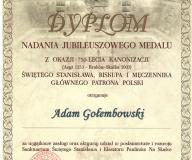Dyplom nadania jubileuszowego medalu za zasługi przy rozwoju Sanktuarium św. Stanisława oraz Klasztoru na Skałce.