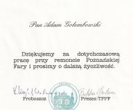 Podziękowanie za współpracę przy odrestaurowaniu poznańskiej FARY