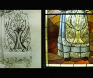 2008 - Kownówko (karton do szaty Ojca Pio - fragment witrażu z szatą Ojca Pio)proj. P. Gołembowski
