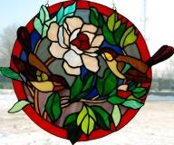 2011 - Witraż na okno z ptakami i różą