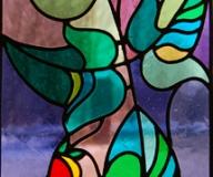 2011 - Witraż na okno z motywem kwiatowym